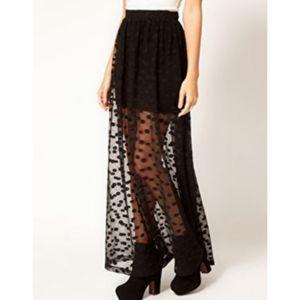 HOST PICK! H&M Divided Polka Dot Black Maxi Skirt